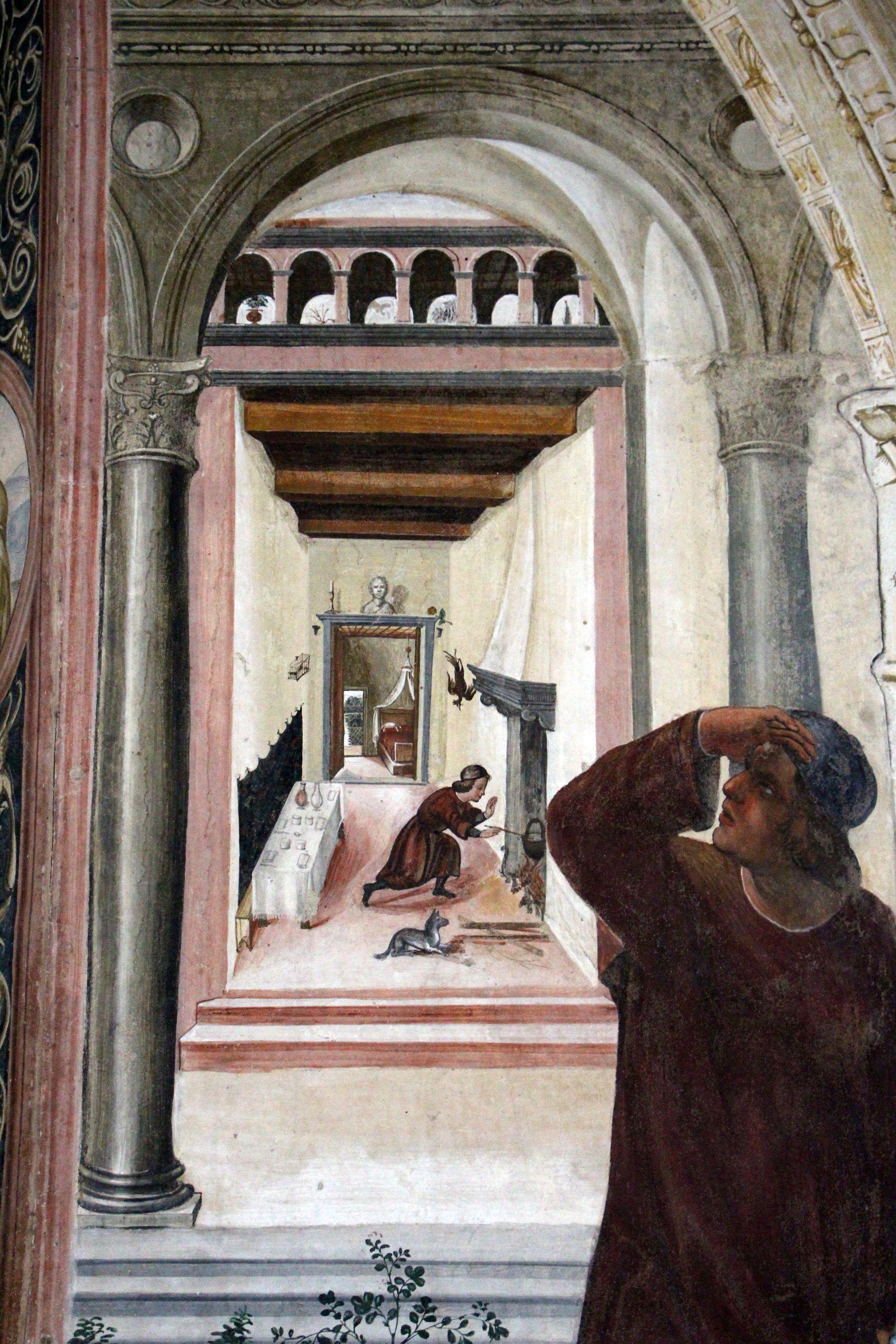 Arte in Toscana | Il Sodoma, Le storie di San Benedetto (6) Come un Prete ispirato da Dio porta da mangiare a Benedetto nel giorno di Pasqua, Chiostro grande del monastero di Monte Oliveto Maggiore (particolare)