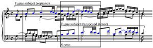Stretto - Image: Stretto Bach's Well Tempered Clavier Fugue no. 1 mm. 21 23
