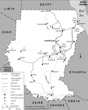 Transport in Sudan - Map of transportation in Sudan (1991).