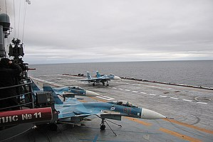 Russian aircraft carrier Admiral Kuznetsov - Sukhoi Su-33 aircraft aboard Admiral Kuznetsov during exercises in the Barents Sea in 2008