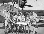 Supermarine Walrus crews of 'C' Flight, No. 624 Squadron RAF, confer prior to a mine-reconnaissance flight from Leghorn, Italy, 1945. A30186.jpg