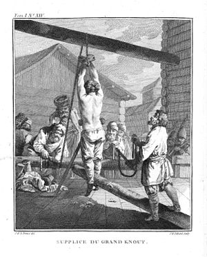 Flagellation - Punishment with a specifically Russian whip called a knout. Russia, 18th century.