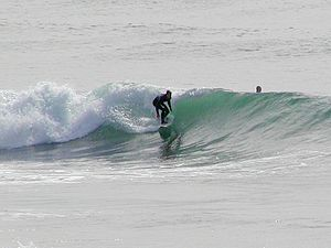 Wave shoaling - Surfing on shoaling and breaking waves.
