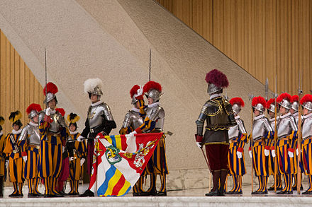 Oath ceremony in the Paul VI Audience Hall (6 May 2013) Swiss guard swearing in.jpg