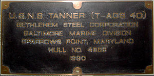 TS State of Maine - Shipbuilder's plate as USNS Tanner 1990
