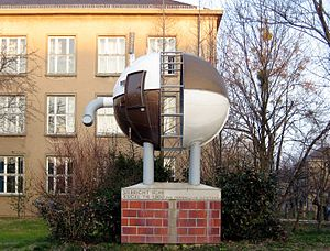 Integrating sphere - Sculpture of an integrating sphere. Located on the campus of the Technical University of Dresden