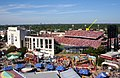 TX OU Red River Shootout in Cotton Bowl seen from fair grounds - with arrow showing 50 yard line.JPG