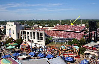 Red River Showdown - 2006 Red River Rivalry with yellow arrow indicating the seating division in the stands