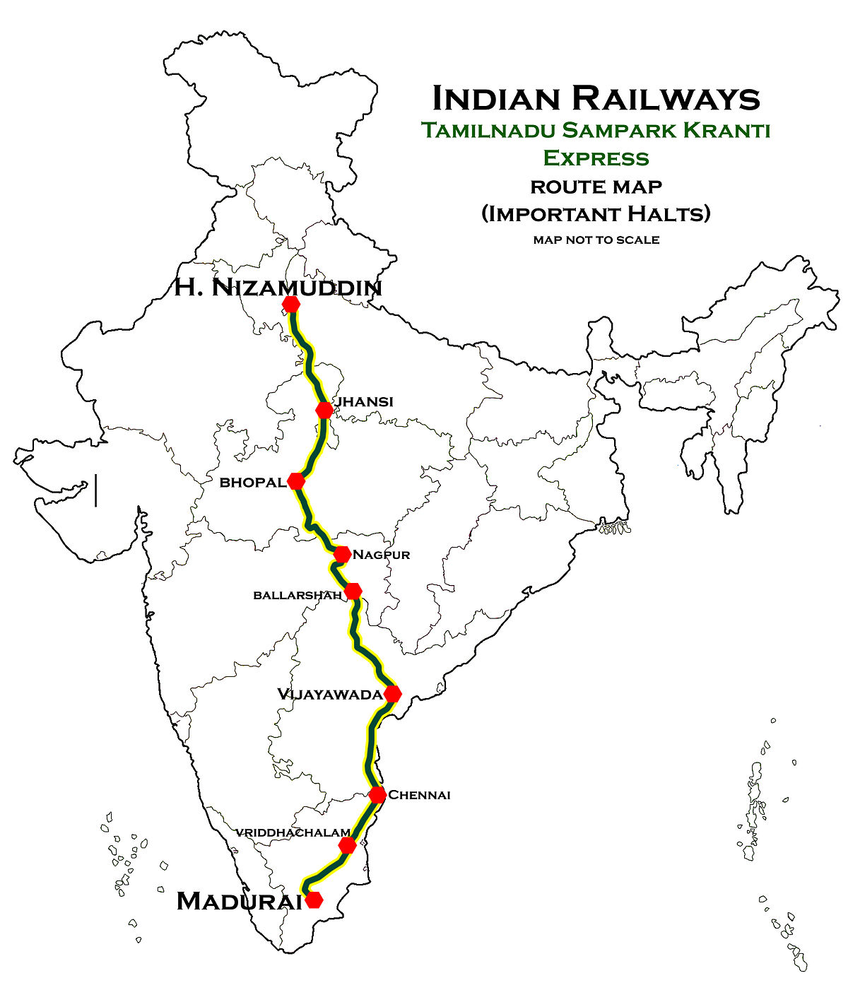 Tamil Nadu Route Map Tamil Nadu Sampark Kranti Express   Wikipedia
