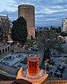 Tea in Azerbaijani traditional armudu glass.jpg