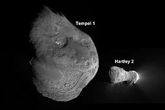 Comet nucleus - Tempel 1 and Hartley 2 compared