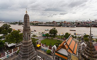 Bangkok Yai District - Area around Wat Arun (taken photo from Prang of Wat Arun), across the Chao Phraya River is Phra Nakhon's Tha Tian neighbourhood