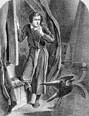 "The Raven - ""The Raven"" depicts a mysterious raven's midnight visit to a mourning narrator, as illustrated by John Tenniel (1858)."