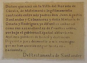 Casa Natal del General Santander - Image: Testamento de Francisco de Paula Santander