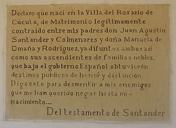Testamento de Francisco de Paula Santander