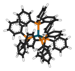 Tetrakis(triphenylphosphine)palladium(0) - Image: Tetrakis(triphenylph osphine)palladium(0) 3D sticks
