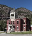The 1888 Ouray County Courthouse, extensively remodeled in 1976, in Ouray, Colorado, an old mining community high in the San Juan Mountains of southwestern Colorado LCCN2015632319.tif