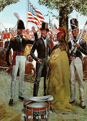 Stephen Harriman Long - Major Long meets with the Pawnees at Council Bluffs, Iowa 1819.
