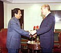 The Deputy Prime Minister and Minister of Industry, Trade, Labour and Communications of Israel, Mr. Ehud Olmert meeting with the Union Minister of Commerce and Industry, Shri Kamal Nath in New Delhi on December 8, 2004.jpg