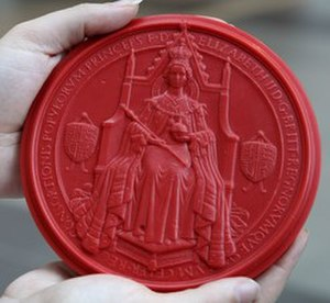 Act of the Scottish Parliament - The Great Seal of Scotland in red beeswax. An impression like this is attached to every Letters Patent giving royal assent.