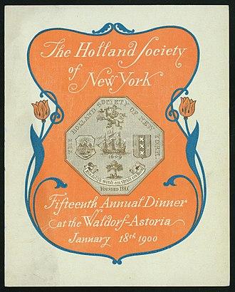 Holland Society of New York - Program for the Holland Society's 15th Annual Dinner, January 18, 1900, Waldorf-Astoria Hotel, New York City