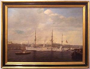 Japan–Turkey relations - The Japanese cruiser Kongō in Istanbul, 1891, following the Ertuğrul incident, by Luigi Acquarone (1800–1896).