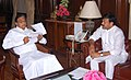 The Minister of State (Independent Charge) for Tourism, Shri K. Chiranjeevi meeting the Union Finance Minister, Shri P. Chidambaram to discuss the matters related to Tourism Ministry, in New Delhi on March 22, 2013.jpg