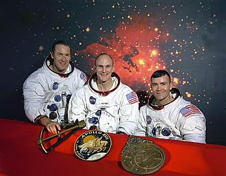 Apollo 13 - Original crew photo. Left to right: Lovell, Mattingly, Haise