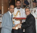 The President, Shri Pranab Mukherjee presenting the Padma Shri Award to Shri P.V. Rajaraman, at a Civil Investiture Ceremony, at Rashtrapati Bhavan, in New Delhi on April 08, 2015.jpg