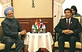 The Prime Minister, Dr. Manmohan Singh with the Prime Minister of Thailand, Mr. Abhisit Vejjajiva, at a bilateral meeting, on the sidelines of 7th India-ASEAN Summit, at Hua Hin, in Thailand, on October 24, 2009.jpg