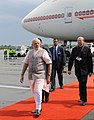 The Prime Minister, Shri Narendra Modi arrives at Tegel Military Airport, Berlin, on his way to Brazil to attend the BRICS Summit, on July 13, 2014. The Ambassador, Shri Vijay Gokhale is also seen.jpg