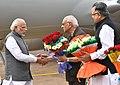 The Prime Minister, Shri Narendra Modi being received by the Governor of Chhattisgarh, Shri Balramji Das Tandon and the Chief Minister of Chhattisgarh, Dr. Raman Singh, on his arrival at Raipur, Chhattisgarh (1).jpg