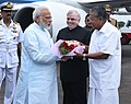 The Prime Minister, Shri Narendra Modi being received by the Governor of Kerala, Justice (Retd.) Shri P. Sathasivam and the Chief Minister of Kerala, Shri Pinarayi Vijayan on his arrival, at Kochi, in Kerala on June 17, 2017 (1).jpg