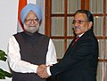 "The Prime Minister of Nepal, Mr. Pushpa Kamal Dahal ""Prachanda"" meeting with the Prime Minister, Dr. Manmohan Singh, in New Delhi on September 15, 2008.jpg"