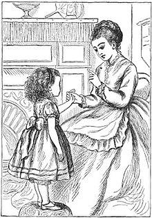 Dessin représentant une jeune fille donnant sa main à une femme assise