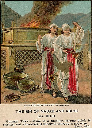 Nadab and Abihu - Illustration of the sin of Nadab and Abihu, from a 1907 Bible card.