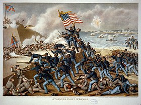 The Storming of Ft Wagner-lithograph by Kurz and Allison 1890.jpg