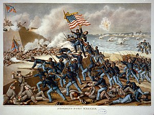 Military history of African Americans in the American Civil War - A lithograph of the storming of Fort Wagner.