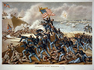 South Carolina in the American Civil War - 54th Massachusetts Regiment charging towards Fort Wagner