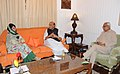 The Union Home Minister, Shri Rajnath Singh in a meeting with the Governor of Jammu and Kashmir, Shri N.N. Vohra and the Chief Minister of Jammu and Kashmir, Ms. Mehbooba Mufti, in Srinagar on July 23, 2016.jpg