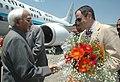 The Vice President, Shri Mohd. Hamid Ansari being received by the Chief Minister of Jammu & Kashmir, Shri Omar Abdullah at Srinagar Airport, in Jammu & Kashmir on June 20, 2009.jpg