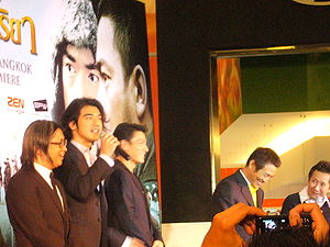 The Warlords - From left, director Peter Chan and stars Takeshi Kaneshiro, Andy Lau,  and Jet Li at the premiere of The Warlords at SF World Cinema, CentralWorld, Bangkok.