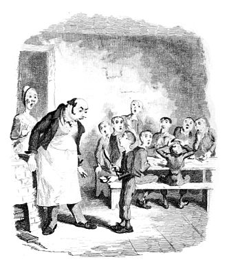 "Gruel - ""Oliver asking for more"", an engraving in The Writings of Charles Dickens volume 4, published 1894."