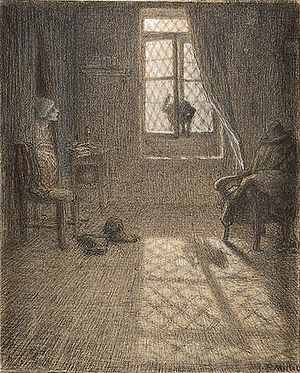 The Mouse Turned into a Maid - Jean-François Millet's drawing of The Cat Changed into a Woman