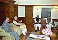 The former Prime Minister Shri Atal Bihari Vajpayee and the Leader of Opposition Shri L.K. Advani meeting the Prime Minister Dr. Manmohan Singh in New Delhi on December 31, 2004.jpg