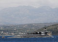 The guided missile submarine USS Florida (SSGN 728) departs Naval Support Activity Souda Bay, Greece, May 24, 2013, following a routine port visit 130524-N-JN142-296.jpg