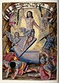 The resurrected Christ rises over terrified soldiers. Miniat Wellcome V0034819.jpg