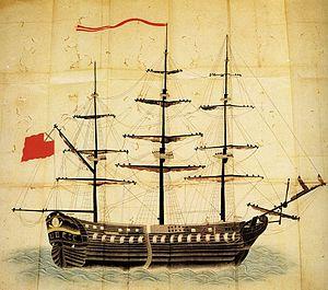 Golovnin Incident - Japanese illustration of the sloop Diana