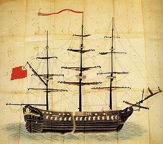 Vasily Golovnin - Japanese illustration of the sloop Diana