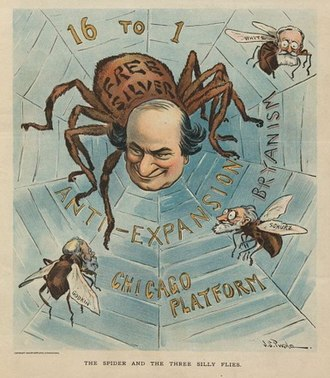 J. S. Pughe - The spider and the three silly flies, by J. S. Pughe, for Puck, October 1900